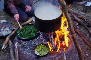 Brennesselspinat und Käse mit jungen Birkenblättern