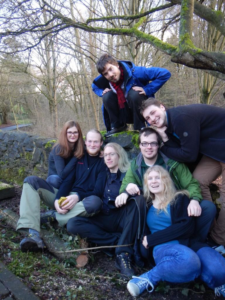 Ein Teil vom Vorstand. Zu sehen sind Kathrin, Ruven, Danilo, Felix, Lukas, Flo und Lydia.